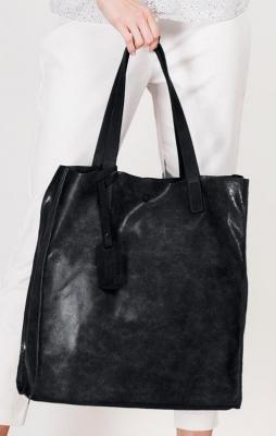 Włoska skórzana Czarna torba Grande Bella - Zdjęcie 1