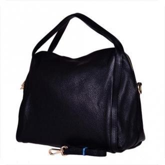 Pojemna torebka skórzana czarna l - Zdjęcie 1