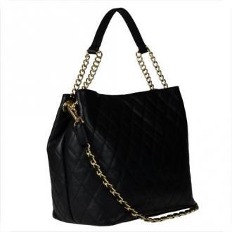 Duża skórzana torba pikowana czarna xl - Zdjęcie 1