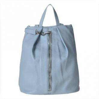 Plecak skórzany niebieski l