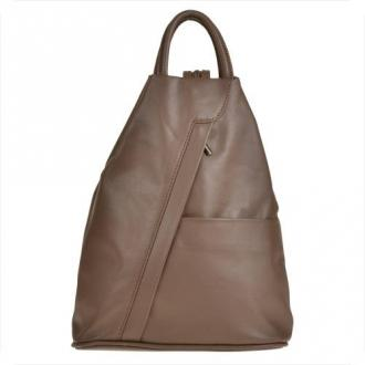 Zgrabny plecak skórzany brązowy, taupe lekki