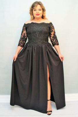 Sukienka MARGO long rozkloszowana ekskluzywna czarna PROMOCJA