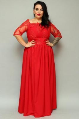 Sukienka MARGO long rozkloszowana ekskluzywna czerwona PROMOCJA