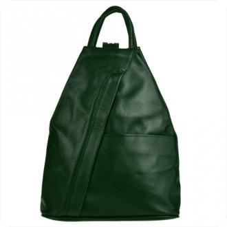Zgrabny plecak skórzany zieleń butelkowa, lekki