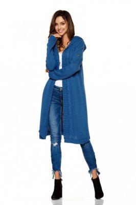 Jeansowy Płaszczowy Niezapinany Kardigan z Kapturem - Zdjęcie 1