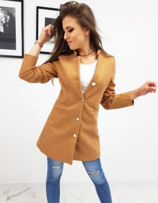 Płaszcz damski jednorzędowy kamelowy NY0254