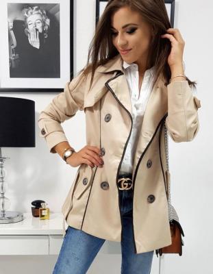 Płaszcz damski dwurzędowy PIERRE kremowy NY0255