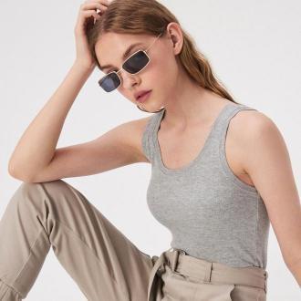 Sinsay - Bawełniany top basic - Jasny szary