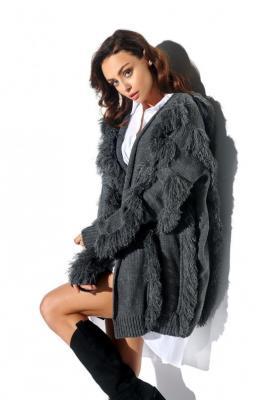 Gruby sweter kardigan jak płaszcz z frędzlami - Zdjęcie 1