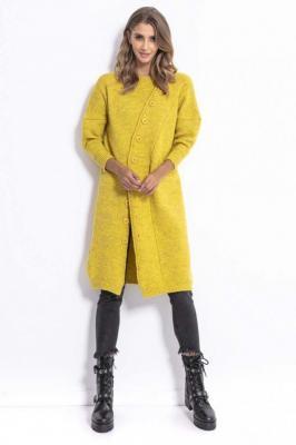 Żółty Stylowy Kardigan z Asymetrycznym Zapięciem - Zdjęcie 1