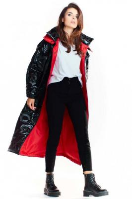 Czarny Długi Płaszcz z Kapturem z Wzorzystej Tkaniny z Połyskiem - Zdjęcie 1