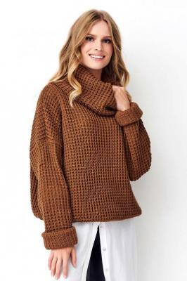 Brązowy Oversizowy Sweter z Golfem
