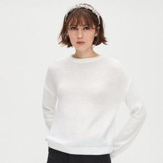 Cropp - Lekki sweter o drobnym splocie - Biały