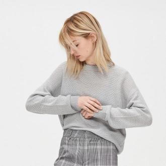 Cropp - Lekki sweter o drobnym splocie - Jasny szary