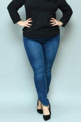 Spodnie jeans granatowe rurki perełki i kokarda na dole guma w pasie