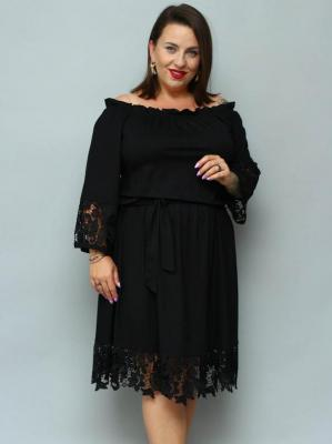 Sukienka hiszpanka TONIA gumeczka i gipiura czarna