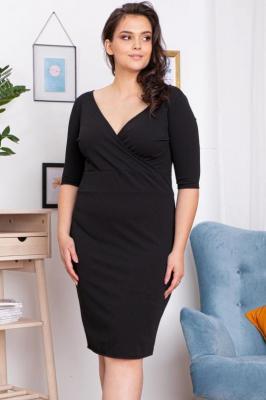 Sukienka z kopertowym dekoltem plus size BONITA dzianinowa ołówkowa czarna