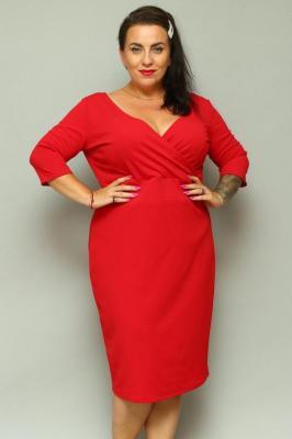 Sukienka z kopertowym dekoltem BONITA dzianinowa ołówkowa czerwona