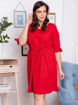 Sukienka trapezowa ALETA gładka pasek czerwona