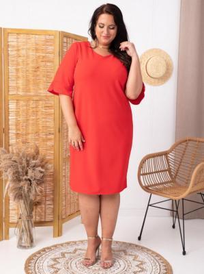 Sukienka ołówkowa TERESA flamenco elegancka plus size czerwona PROMOCJA