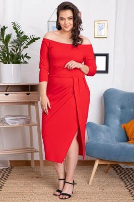 Sukienka hiszpanka DELICJA long plus size efektowne rozcięcie czerwona PROMOCJA