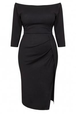 Sukienka hiszpanka DELICJA long plus size efektowne rozcięcie czarna PROMOCJA