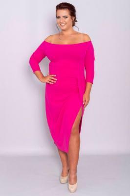 Sukienka hiszpanka DELICJA long plus size efektowne rozcięcie amarantowa PROMOCJA