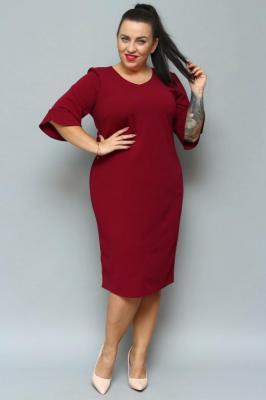 Sukienka ołówkowa TERESA flamenco elegancka plus size bordowa PROMOCJA