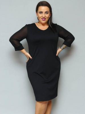 Sukienka wieczorowa ołówkowa XXL ANITA rękawki szyfonowe czarna