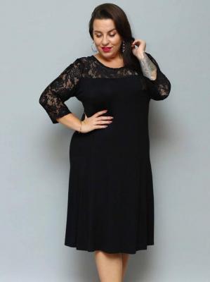 Sukienka wieczorowa koronkowy karczek xxl dzianinowa trapezowa KAROLINA czarna