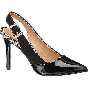 Czarne szpilki damskie Graceland z odkrytą piętą