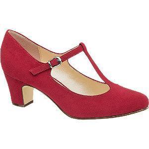 Czerwone czółenka damskie Graceland zapinane na paseczek