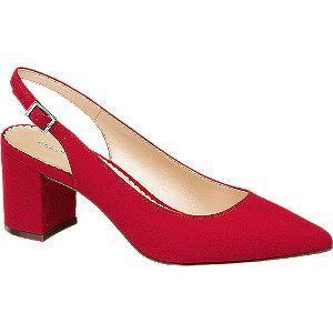 Czerwone czółenka damskie Catwalk z odkrytą piętą