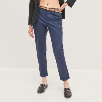Reserved - Spodnie chino z paskiem - Granatowy