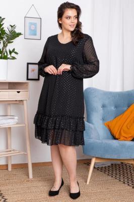 Sukienka falbanki i groszki HORTENSJA czarna PROMOCJA