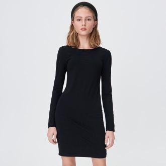Sinsay - Mini sukienka z dekoltem na plecach - Czarny
