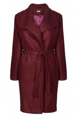 Płaszcz flauszowy wełniany trencz KLARA z paskiem bordowy PROMOCJA
