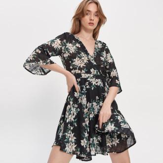 House - Sukienka w kwiaty - Czarny