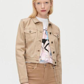 Cropp - Krótka jeansowa kurtka - Beżowy