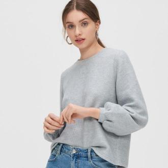 Cropp - Miękki sweter basic - Jasny szary