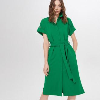 Mohito - Dzianinowa sukienka z wiązanym paskiem - Zielony