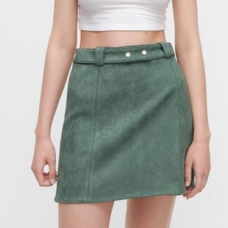 Reserved - Spódnica z imitacji zamszu - Zielony
