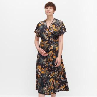 Reserved - Kopertowa sukienka z autorskim printem - Wielobarwny