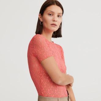 Reserved - Koronkowa bluzka - Różowy