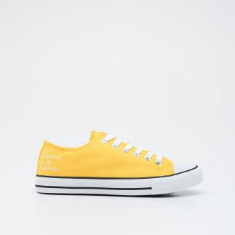 Sinsay - Trampki z nadrukiem - Żółty