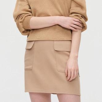 Cropp - Spódnica mini z łańcuchem - Beżowy