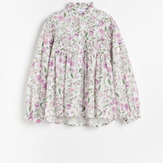 Reserved - Bluzka w kwiaty ze stójką - Wielobarwny