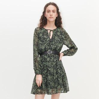 Reserved - Sukienka w kwiaty z paskiem - Wielobarwny