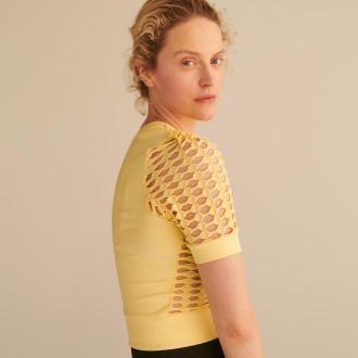 Reserved - Bluzka z wycięciami - Żółty