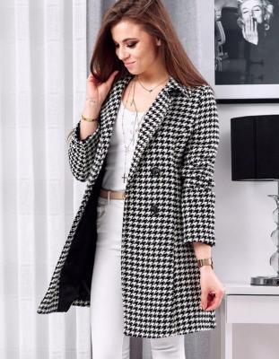 Płaszcz damski SELVI czarno-biały NY0312